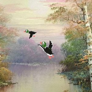 8-Bit Repurposed Duck Hunt Painting Shut Up And Take My Yen : Anime & Gaming Merchandise