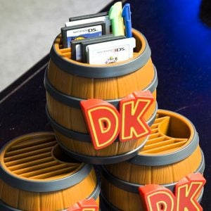 Donkey Kong Game Card Storage Barrel